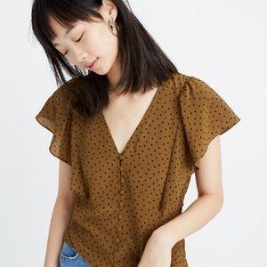 NWT Madewell Silk Flutter-Sleeve Top in Polka Dot